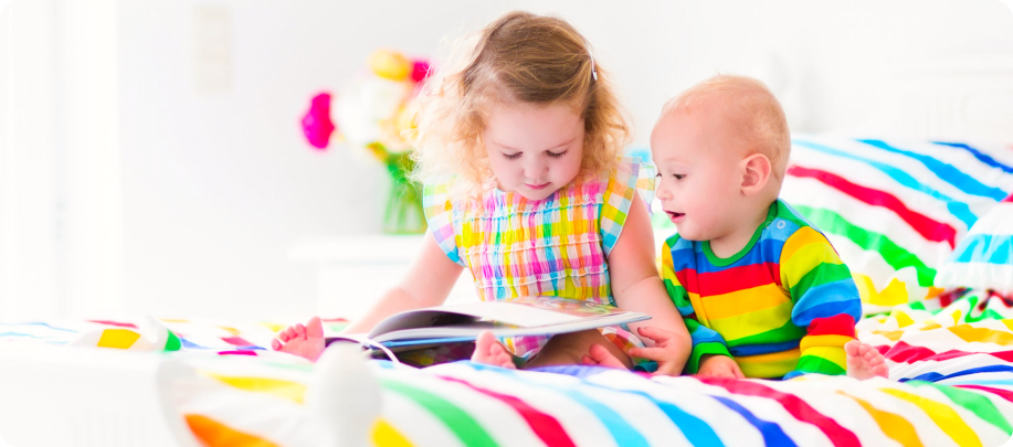 2 child reading